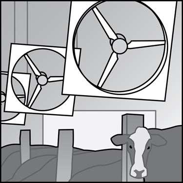 农业用途通风风扇的例证