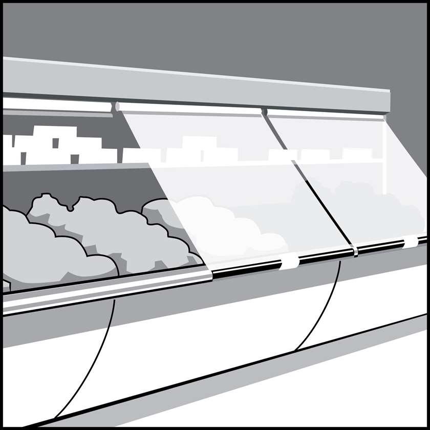 An illustration of a Display Case Strip-Curtains & Continuous Covers