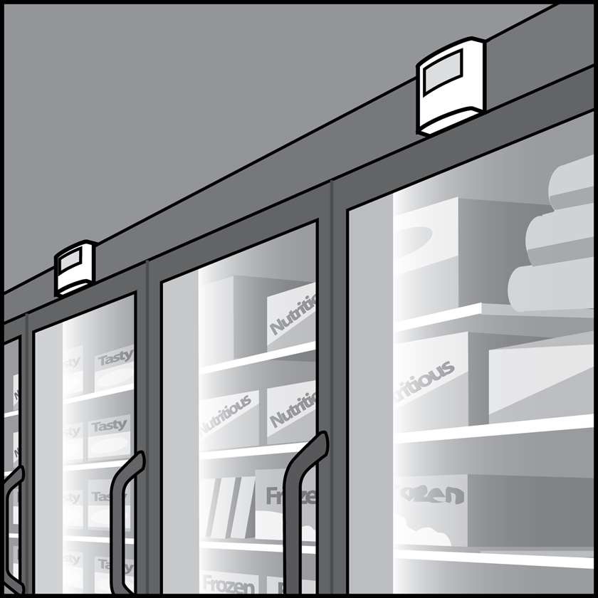 An illustration of a Refrigerator & Freezer Case Light Sensors