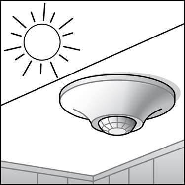 An illustration of a Ceiling & Wall Remote Mounted Daylight Sensors