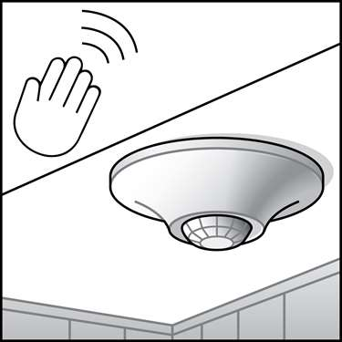 An illustration of a Ceiling & Wall Remote Mounted Occupancy Sensors