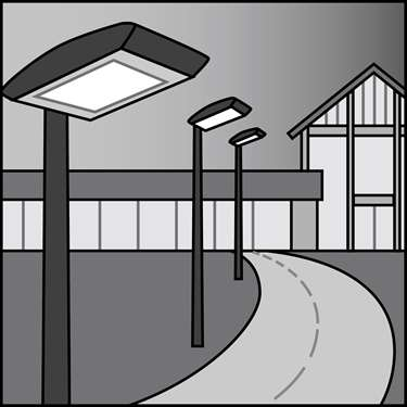 An illustration of a LED Outdoor Pole-Mounted Area Fixtures & Retrofit Kits