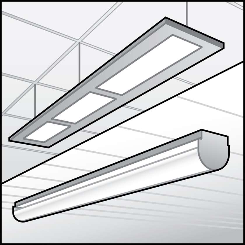 An illustration of a LED Surface & Suspended Linear Fixtures
