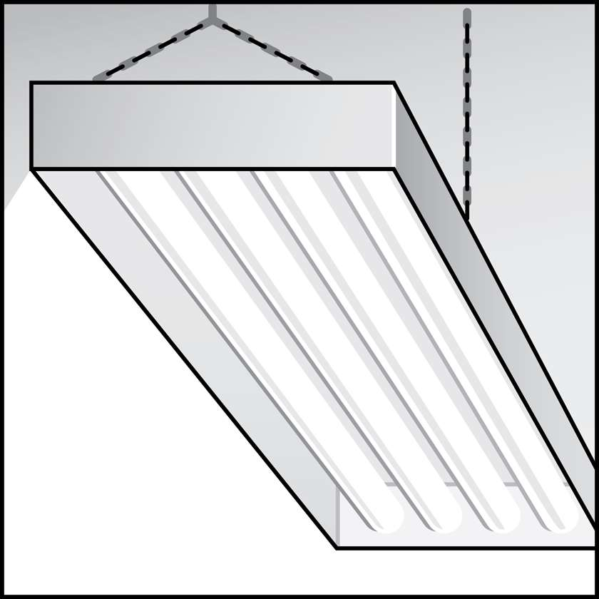 An illustration of a High-Performance T8 (HPT8) Linear Fluorescent Fixtures for Agricultural Use